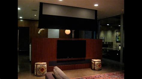 los angeles media room  motorized home theater screen