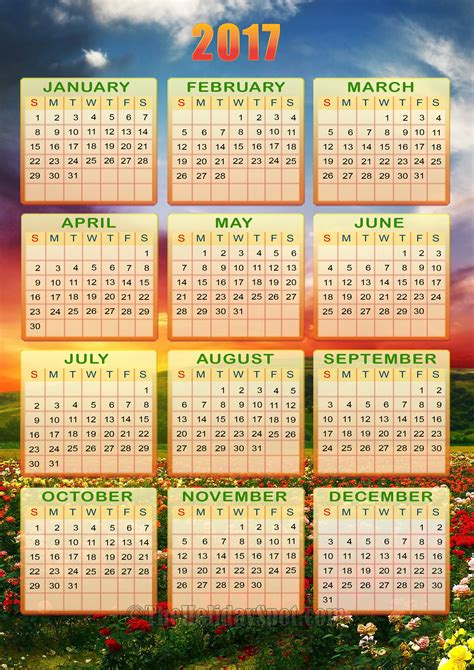 2017 yearly calendar template excel free printable templates