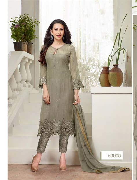 latest designer plazo suits buy plazo suits new designer grey straight plazo suit