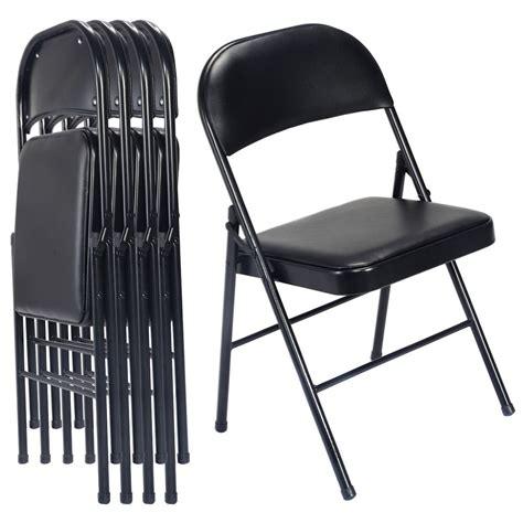 set   black folding chairs steel pu portable home garden office furniture ebay
