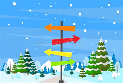 time trees directions winter forest landscape sign direction way stock vector