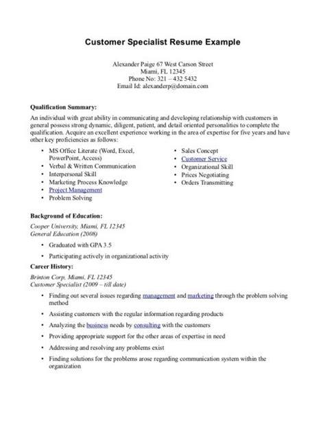 Customer Service Resume Summary by Professional Summary Resume Exles Customer Service