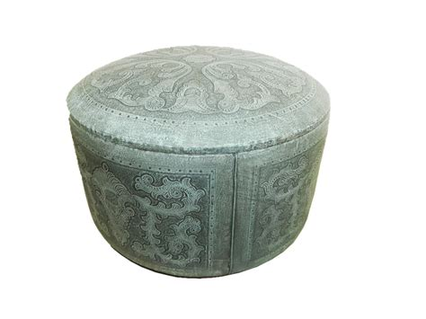 turquoise leather ottoman special edition tooled leather colonial round box ottoman
