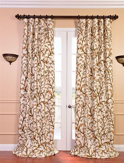 cotton drapes and curtains savings on embroidered cotton crewel curtains drapes