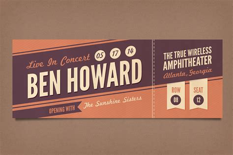ticket templates for photoshop retro concert tickets stationery templates on creative