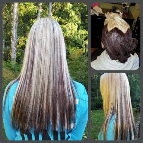 pattern hair color reverse ombre using kenra hair color 6rb and 10n long