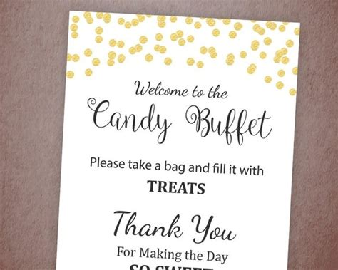 Baby Shower Buffet Sign Template by Buffet Sign Printable Bar Sign Gold Confetti