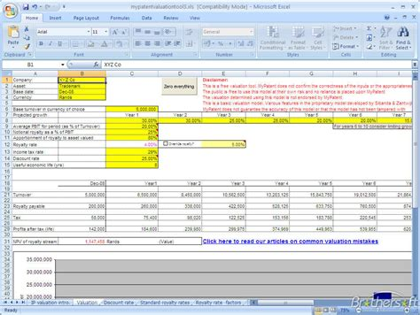 Property Valuation Spreadsheet by Free Intellectual Property Valuation Model