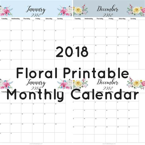printable calendar 2018 floral 2018 floral printable monthly calendar true bliss designs