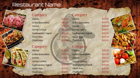 mexican restaurant menu templates best photos of mexican restaurant menu template blank