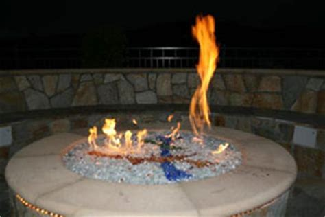 cobalt blue fire glass, aquatic glassel fire pit design