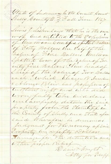 Shelby County Indiana Records Shelby County Indiana History Genealogy Civil Cases Lisher V Amsden
