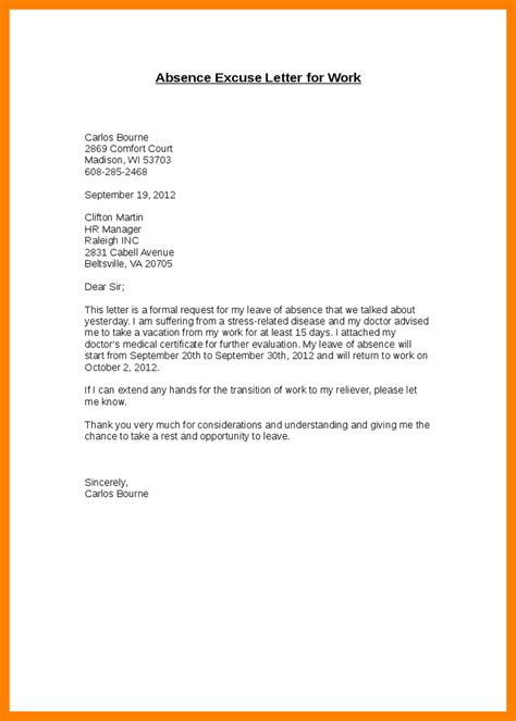 College Absent Letter 7 excuse letter sle for being absent in school fancy resume