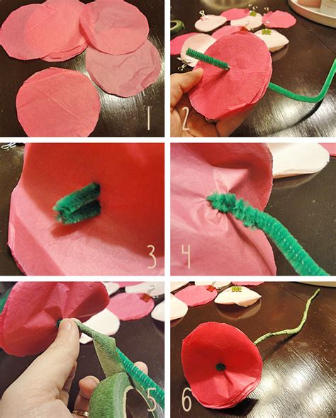 How To Make Tissue Paper Flowers Without Pipe Cleaners - tissue paper flowers the hyper house