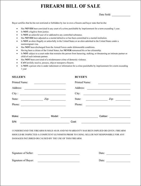 bill of sale template virginia firearm bill of sale word excel sles