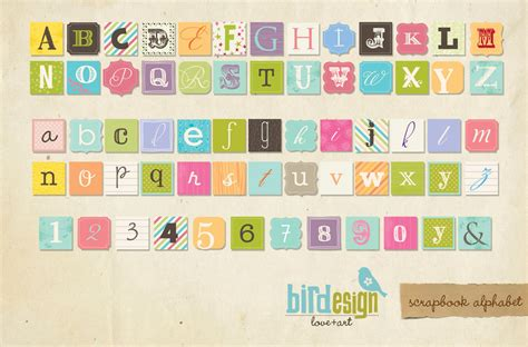 printable scrapbook letters free instant download alphabet scrapbook style e107 by birdesign