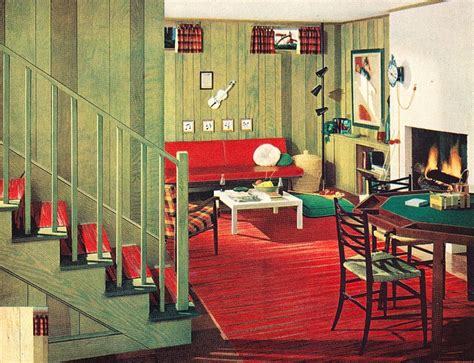 50s modern home design this archetypical 50 s rec room basement features the obligatory table pickled green