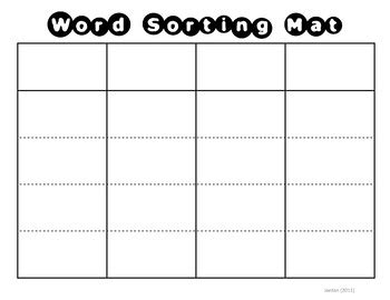 word sorting mat card template by msjordanreads tpt