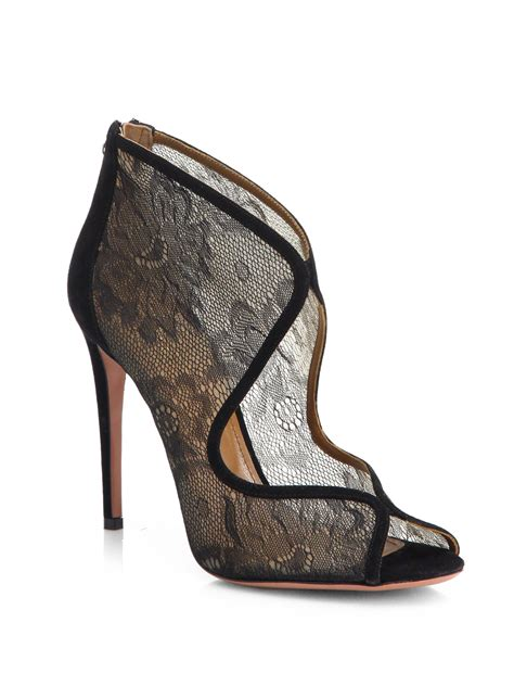 aquazzura boots aquazzura eagle lace ankle boots in black lyst