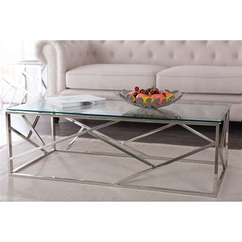 Baxton Studio Fiona Modern And Contemporary Stainless Steel And Glass Coffee Table