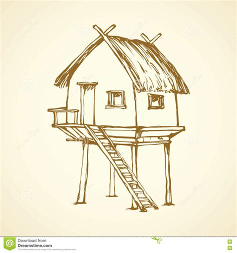 printable straw house hut on legs vector drawing stock vector image 78452102