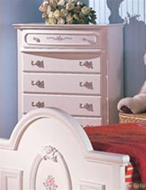 Sophie Girls White Traditional Twin Bedroom Set W Floral White Traditional Bedroom Furniture