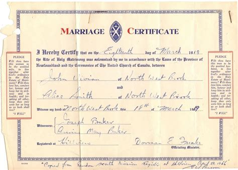 Newfoundland Marriage Records Marriage Certificates