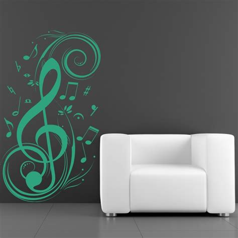 notes wall stickers treble clef and musical notes musical notes instruments