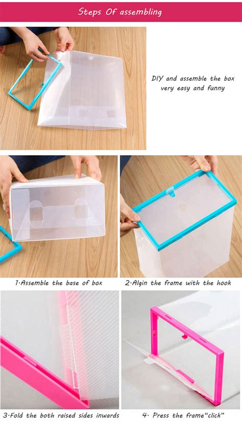 multifunction plastic transparent shoe storage box diy