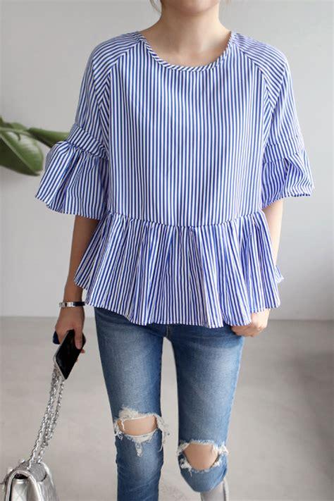 Striped Ruffled Blouse miamasvin striped ruffled blouse kstylick