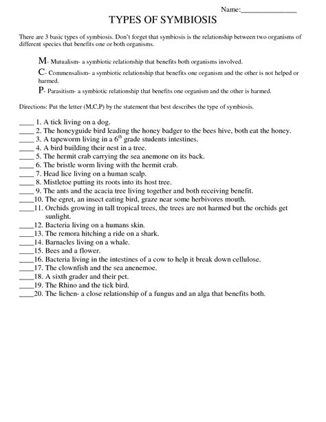 Symbiosis Worksheet by 15 Best Images Of Printable Worksheets For High School