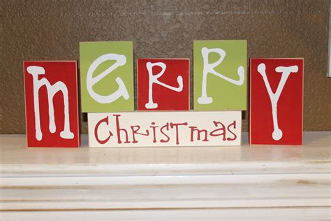 merry christmas blocks christmas decor by craftswithasideofyou