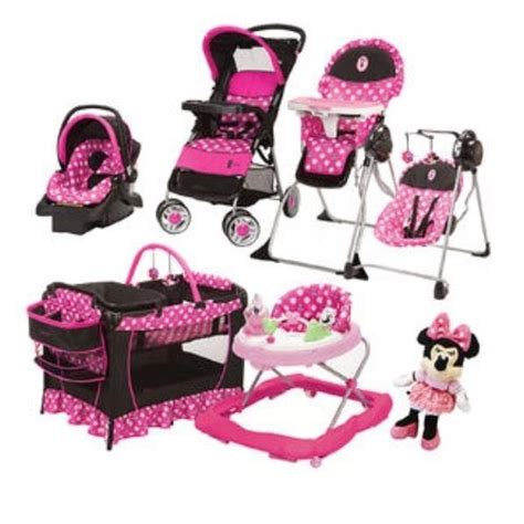 minnie mouse baby swing 8 pc set minnie mouse baby high chair swing doll car
