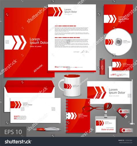 Red Corporate Identity Template White Arrow Stock Vector 132565364 Shutterstock Brand Identity Template