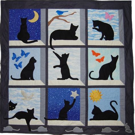 cat applique pattern wall hanging looking out kitty quilt wallhanging by fcalvert craftsy