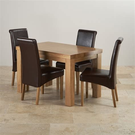 Solid Oak Dining Table And 4 Chairs Chunky Solid Oak Dining Set In Oak 4ft Table 4 Chairs