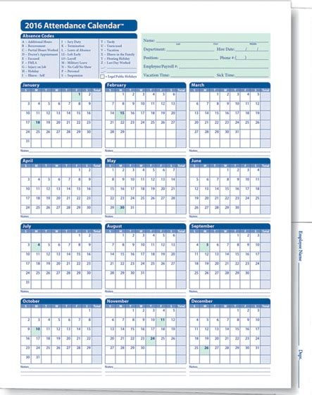 Staff Calendar Template by Tracker Templates 2016 Printable Calendar Templates
