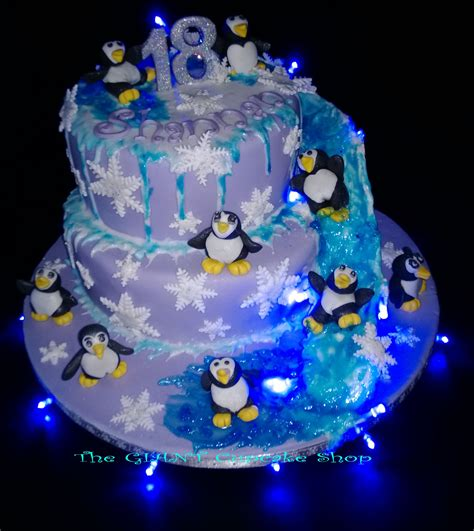 Penguin Themed Cake With Water Slide And Hidden Fairy Light Cakes
