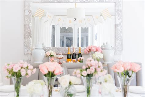 bridal shower table setup chagne macaron dessert bar fashionable hostess