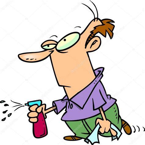 Vacuum Cleaner Signora hombre de dibujos animados de limpieza vector de stock