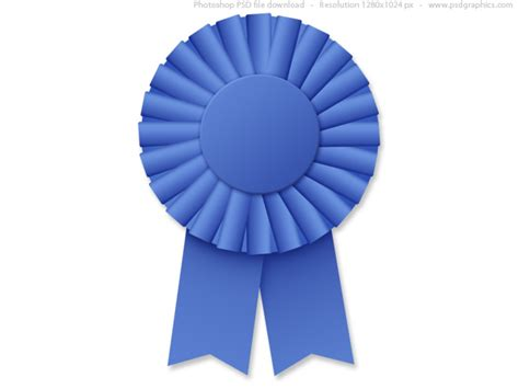 Blus Ribbon blue ribbon rosette psd psdgraphics