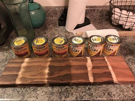 Minwax stains (one coat) on pine plywood from left to