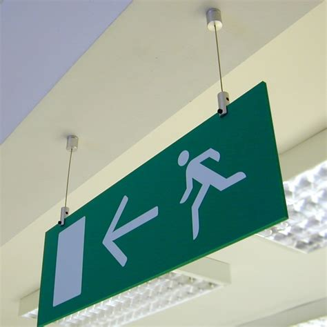 Ceiling Hanging Signs by Fe Cable 92 58 Eec Safety Signage Signbox Ltd