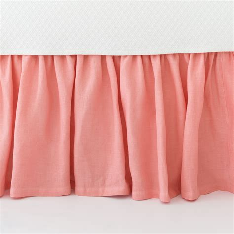 pine cone hill stone washed linen coral paneled bed skirt
