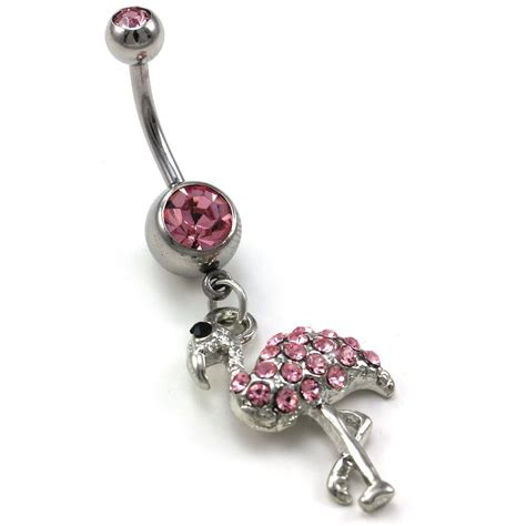 light pink flamingo bird animal dangle belly button navel