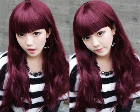 asian magenta highlight red violet hair color ideas violet red haircolor
