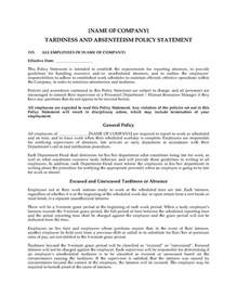 absenteeism policy template employee tardiness and absenteeism policy statement