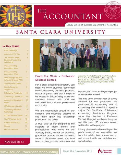 Santa Clara Mba Scholarships by The Scu Accountant Fall 2013 By Santa Clara Issuu