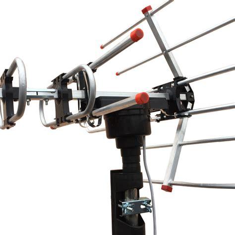 hdtv outdoor lified antenna hd tv 36db rotor remote 360 176 3w uhf vhf fm black ebay