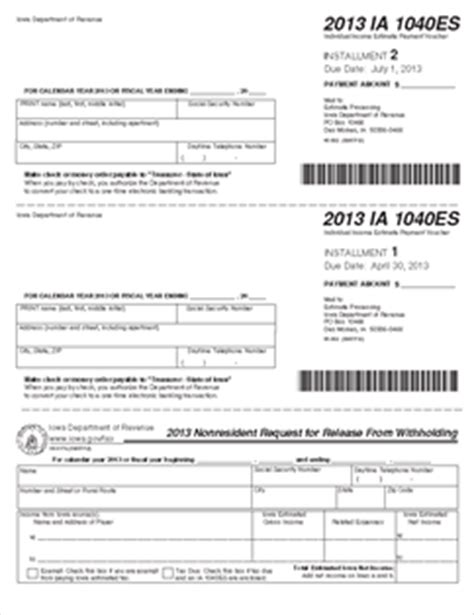form ia 1040es 2013 estimated tax coupons for 2013 45 002
